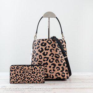 Kate Spade Darcy Leopard Bucket Bag & Wallet SET